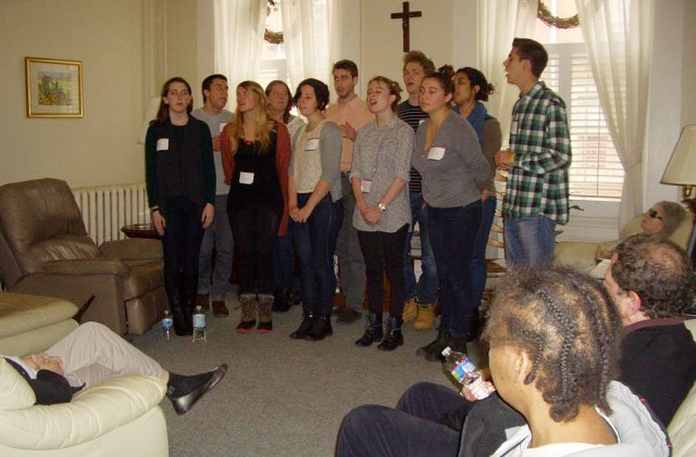 Volunteers in Philadelphia, including members of Wesleyan's a cappella group The New Group, served and ate lunch with 16 formerly homeless women who cope with chronic mental illness at The Bethesda Project on Spruce Street. This WEServe project was organized by Brad Moss '80.