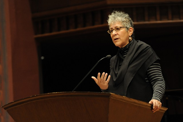 "Filmmaker, lecturer and social justice activist Shakti Butler delivered they keynote address at Wesleyan's Martin Luther King, Jr. celebration on Feb. 1. ""Diversity University: From Theory to Practice,"" was the theme of this year's daylong commemoration. (Photo by Gabe Rosenberg '16)"