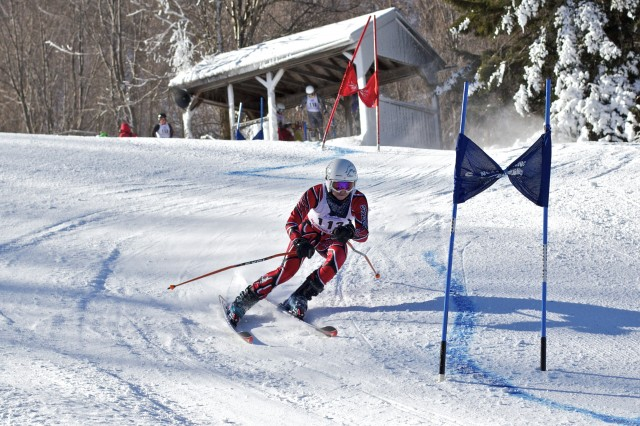 Michael Kruger '15 charges down the giant slalom course during a McBrine Division race.
