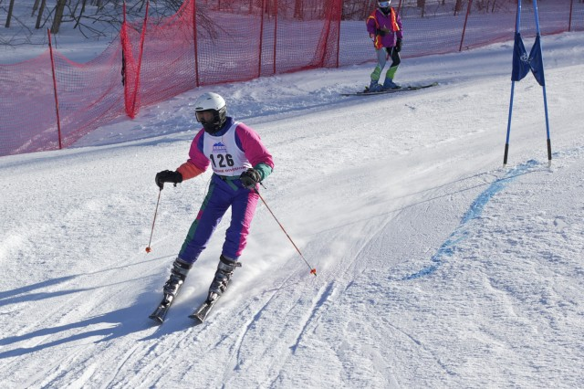 Ross Gormley '13 skis for the Wesleyan Ski Team at a McBrine Division race.