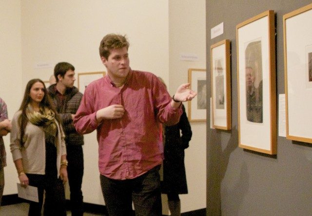 The exhibition examines the ways 20th-century American photographers have represented the body, whether as subject or compositional element. Pictured, Virgil Taylor '15 discussed his knowledge from his Museum Studies course. Other student curators included  Alexa Chiapetta '13, Oliver Citrin '14, Aria Danaparamita '13, Philip Dinolfo '14, Rachel Pei Hirsch '15, Sewon Kang '14, Sydney Lowe '13, Matias Seijas '13, Ariana Todd '13 and Tessa Young '13. (Photos by Hannah Norman '16)