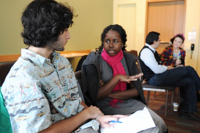 During a workshop led by Shakti Butler, Evan Weber '13 and Ibironke Otusile '15 spoke to each other about ways history and culture help identify who they are as individuals.