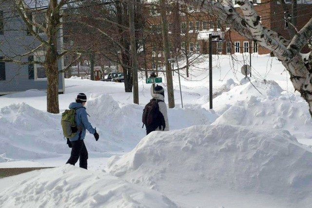 Snow banks and snow drifts on Pine Street Feb. 10. (Photo by Shauna Pratt '13)