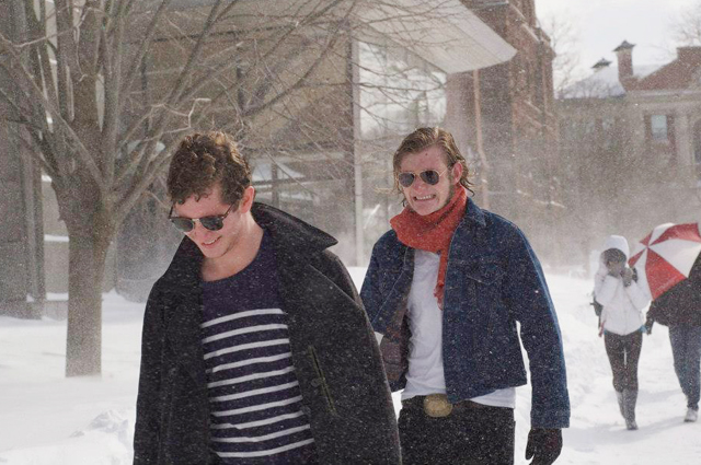 Peter Helman '15 and Dylan Nelson '15 brave the storm near Zelnick Pavilion. (Photo by Shauna Pratt '13)