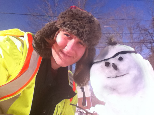 The Wesleyan C-CERT snowman kept C-CERT member Olivia Drake, Wesleyan Connection editor and campus photographer, company at the Smith Field Parking Lot. Transportation Services helped shuttle Wesleyan employees to campus.