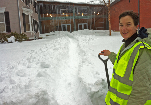 C-CERT member Jennifer Curran, associate director of student services and outreach for Graduate Liberal Studies, shoveled a path to the Center for Film Studies' side doors. In the event of an emergency, building occupants may need to exit the building through these doors.