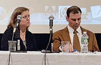 Kristin Goss and Matthew Miller of Harvard University's School of Public Health spoke at the gun violence panel..