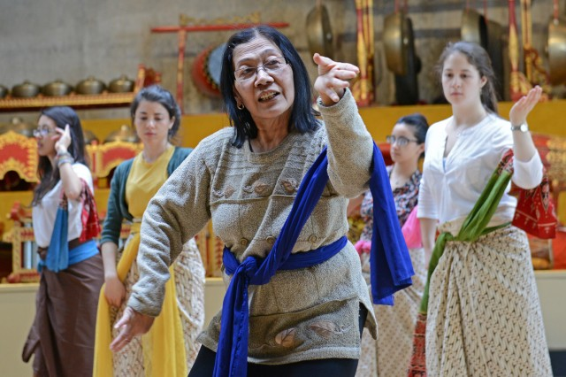 The class is taught by Urip Sri Maeny, an artist-in-residence in the Dance Department.