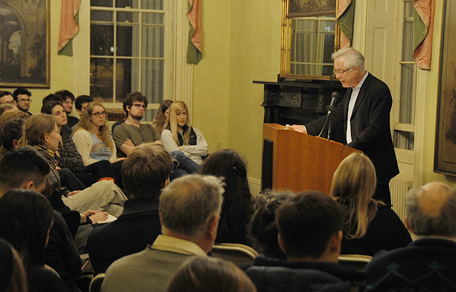 Writer/journalist Louis Menand delivered the annual Annie Sonnenblick lecture Feb. 27 in Russell House. His talk was part of the Russell House Series on Prose and Poetry.