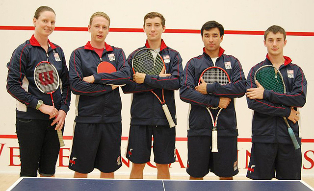 Shona Kerr, head squash coach; Tim Schade of Philadelphia, Pa.; Robert Troyer '12, Max Bevilacqua '12 and Ethan Moritz '14 represented the U.S.A. during the 2012 Racketlon World Championship.