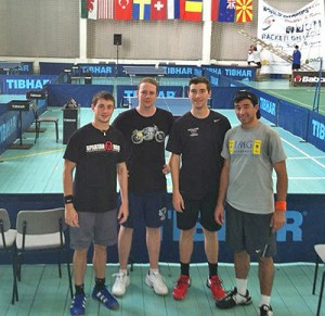 Members of Wesleyan/USA's racketlon team in Sofia, Bulgaria.