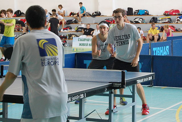 At left, Max Bevilacqua '12 and Robert Troyer '12 compete in the table tennis section of racketlon.