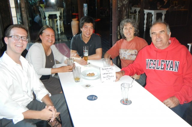 "Joyce Jacobsen gathered with guests for a casual ""meet and greet"" at a local pub in Sydney, Australia."