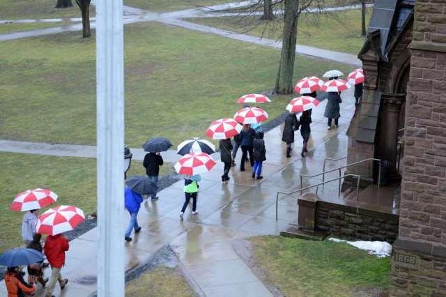 Umbrella parade near Memorial Chapel on March 12.