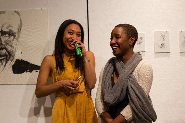 Sydney Lowe '13 and Yatta Zoker '14 curated the Be The Art exhibition.