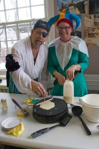 Kristine Schiavi, administrative assistant, and her husband Victor make crepes. (Photos by Hannah Norman '16)