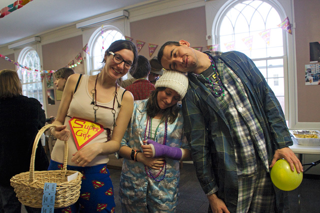 Graduate students Andrea Ballanti, Delfina San RomanGrossi, and Tifenn Philippot dressed up in pajamas during the Pan-Romance Carnival Celebration, hosted by the Romance Language and Literatures Department on Feb. 24.