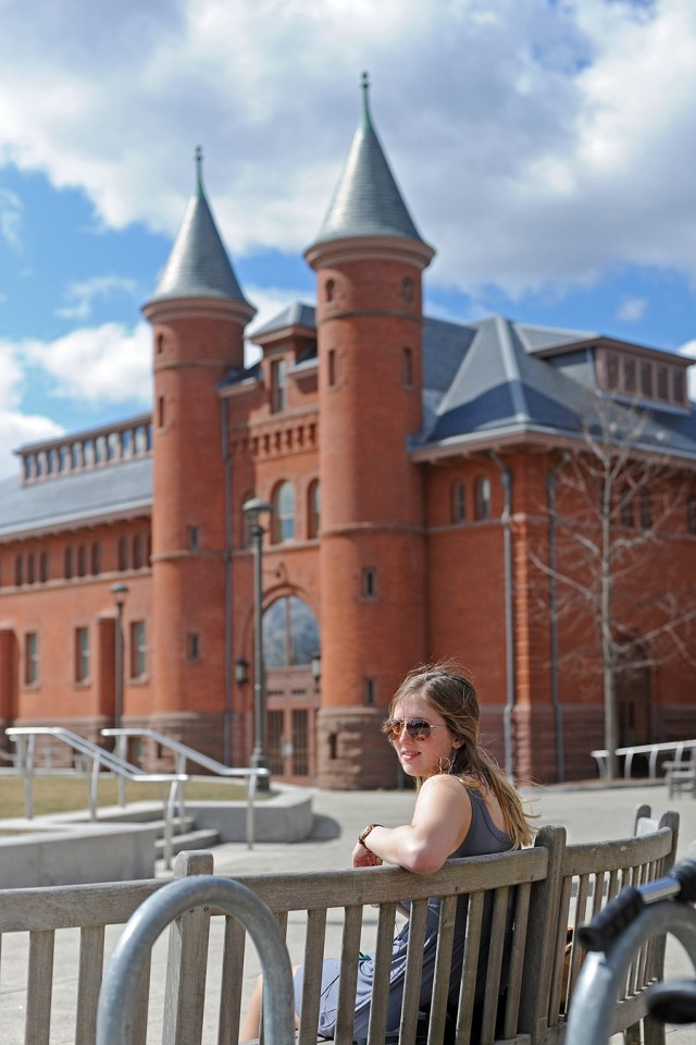 After three days of cloud-covered sky, the sun finally broke through. Alison Znamierowski '15 enjoyed the sunny beams March 26 at Usdan University Center's Huss Courtyard.