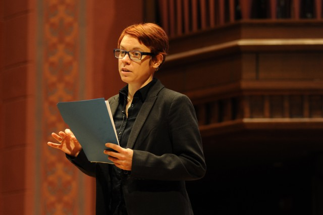 "Paula Matthusen, assistant professor of music, delivered a speech titled ""Sounds in Remembered Spaces."""