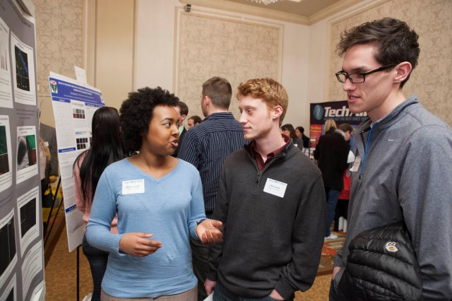 Lassiter discusses her research on embryonic stem cell derived neurons with Ethan Grund '13 and Nicholas Woods '13.