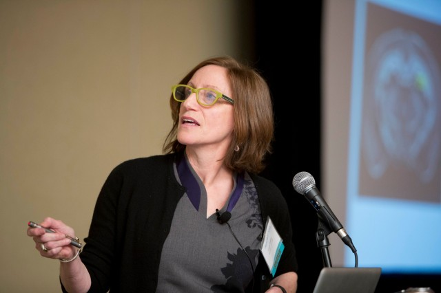 Laura Grabel, Lauren B. Dachs Professor of Science and Society, professor of biology, spoke about research in her laboratory aimed at generating forebrain GABAergic neurons from embryonic stem cells for transplantation.