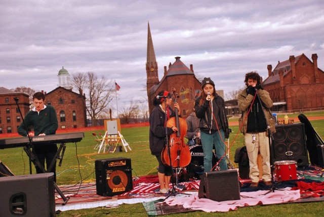 The group  Don Minott, comprised of Mel Hsu '13, Jess Best '14 and Sam Friedman '13 also performed at the festival.