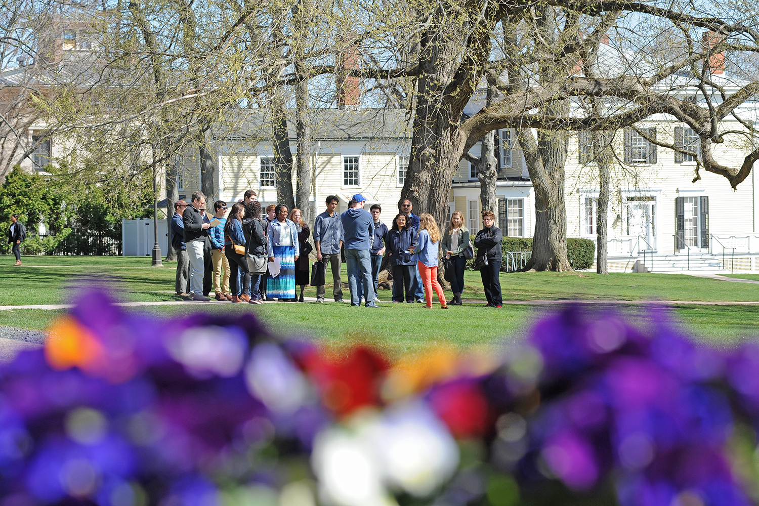 A WesFest campus tour passes through College Row on April 17.