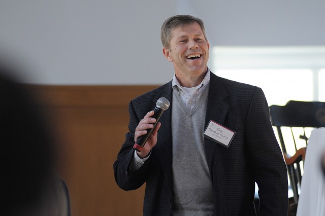 Guy Davidson '83, P'16 spoke to parents of admitted students at a parent-to-parent panel April 17 in Beckham Hall.