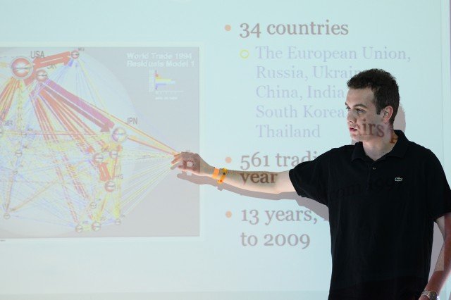 "Government major Ivan Stoitzev '13 presented his research on ""Everything Revolves Around Oil and Natural Gas: Russia's Economic and Political Centers of Gravity,"" during the Center for the Study of Public Life's 2012-13 thesis research presentations on April 26. Stoitev investigated the role oil and natural gas play in the Russian economy and political sphere."