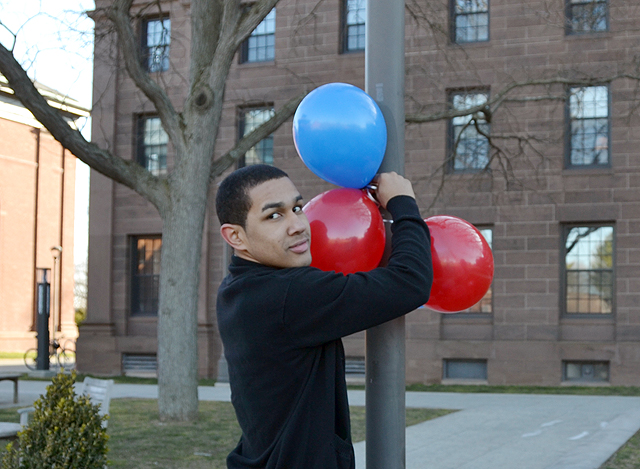 Eury German '16 hung balloons along the way between Beckham Hall and Memorial Chapel, marking the pathway for participants in the National Dominican Students Conference.