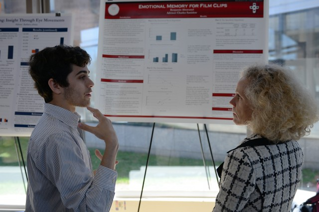 "BA thesis student Benjamin Abravanel '13 spoke to Ruth Striegel, the Walter A. Crowell University Professor of the Social Sciences, professor of psychology, about his study on ""Emotional Memory for Film Clips."" His advisor is Chuck Sanislow, assistant professor of psychology."