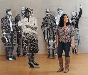 Zaida Garcia works as a gallery monitor at Zilkha Gallery. (Photos by Olivia Drake)