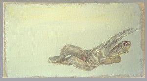 Snakebite Song  20 x 11, silverpoint, tinted gesso, and gouache on linen 1992