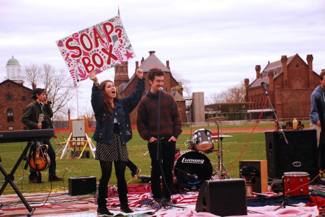 The festival encouraged dialogue about—and action against—existing class, racial, and social rifts that exist within a community. Between musical sets, the stage opened up as a Soap Box, allowing Wesleyan students and local community members to speak about what was on their mind.