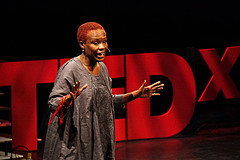 Gina Ulysse delivers a TEDxUofM talk at the University of Michigan's Power Center on April 5. (Photo by Aimée Xia)