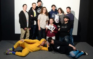 Standing, Jesse Brent, Mickey Capper, Ben Michael, Adam Wechsler, Adam Isaacson, Katherine Cohen and John Whalen; Kneeling, Isabelle Gauthier and Rick Sinkiewicz; Lying down, Adrien DeFontaine and Avery Trufelman. (Photo by Robert Cooper)