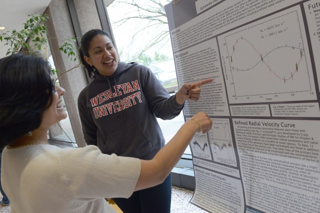 "Raquel Martinez presented her research on ""Uncovering Spectroscopic Signatures of the Hidden Secondary Component of BM Ori."" The project was advised by Seth Redfield, assistant professor of astronomy, and William Herbst, chair and professor of astronomy."