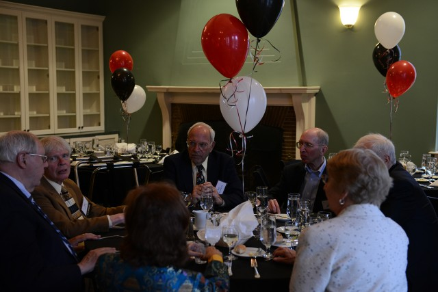 Members of the Class of 1958 gathered for a reception and dinner in the Downey House lounge on May 25. (Photo by Dat Vu '15)
