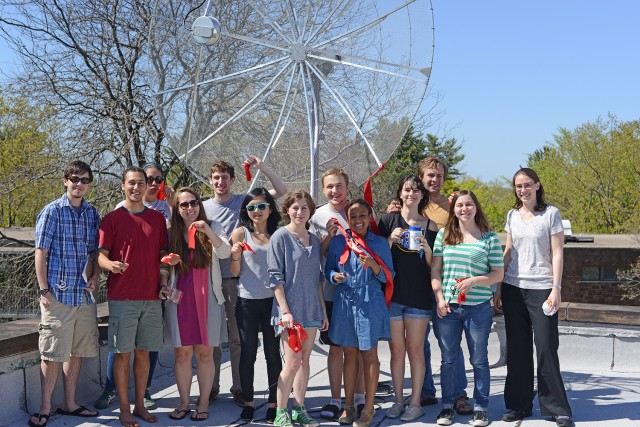 A new telescope at Van Vleck Observatory saw its first light on May 1. The ribbon-cutting ceremony was attended by staff and students of the Astronomy Department and the Science Machine Shop.