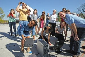Classmates, with the help of Astronomy Department faculty, used the new device to detect the sun.