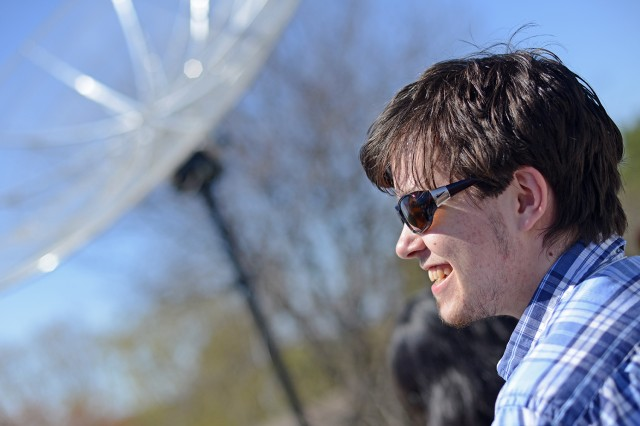 Students enrolled in Assistant Professor Meredith Hughes' Radio Astronomy Class created the functional radio telescope in one semester. They followed design specifications for a small radio telescope developed by Alan Rogers at MIT's Haystack Observatory.