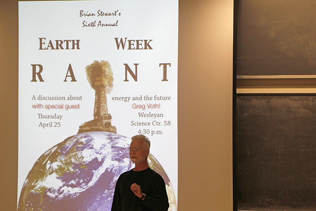 "Brian Stewart, associate professor of physics, shared his insights into the future of energy during his sixth annual ""Earth Week Rant"" on April 26."