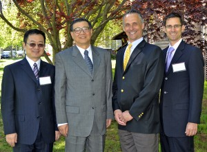 At left, Gao Xiang, Wang Weiguang, President Michael Roth and Ethan Kleinberg.