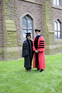 Majora Carter '88 and Wesleyan President Michael Roth. (Photos by John Van Vlack)