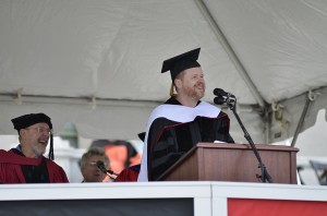 The 181st Commencement Ceremony took place on Andrus Field, with Honorary Doctorate of Letters recipient Joss H. Whedon '87 delivering the Commencement speech on May 26. (Photo by John Van Vlack)