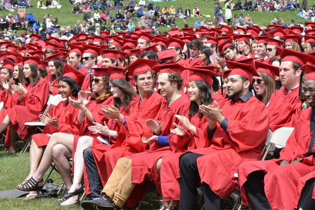 Seniors at Wesleyan's Commencement Ceremony.