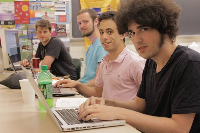 "The ""WesMaps+"" team included Justin Raymond '14, Tobias Butler '13, Max Dietz '16 and Anastasis Germanidis '13."
