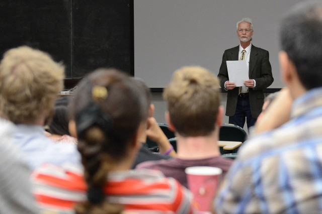 Brian Stewart, associate professor of physics, spoke about the annual lecture. 