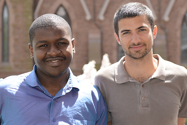 At left, Mfundi Makama '14 and Greg Shaheen 13 received grants through the Davis Projects for Peace Program.