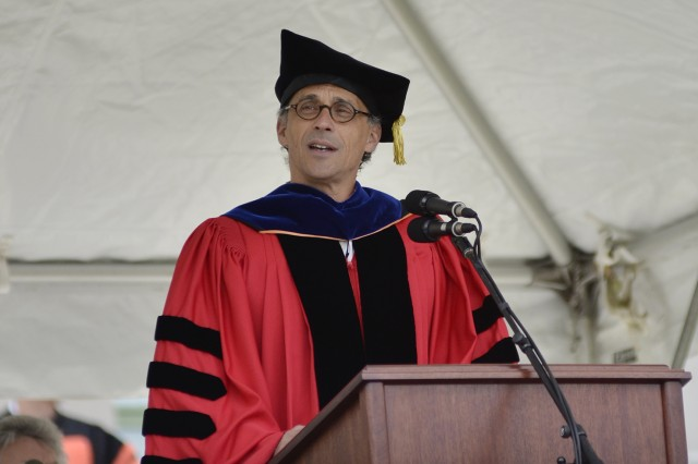 Wesleyan President Michael Roth speaks during the Wesleyan Commencement Ceremony May 26.